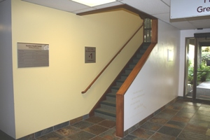 This is the set of stairs that leads to the second floor, the home of Counseling & Psychological Services