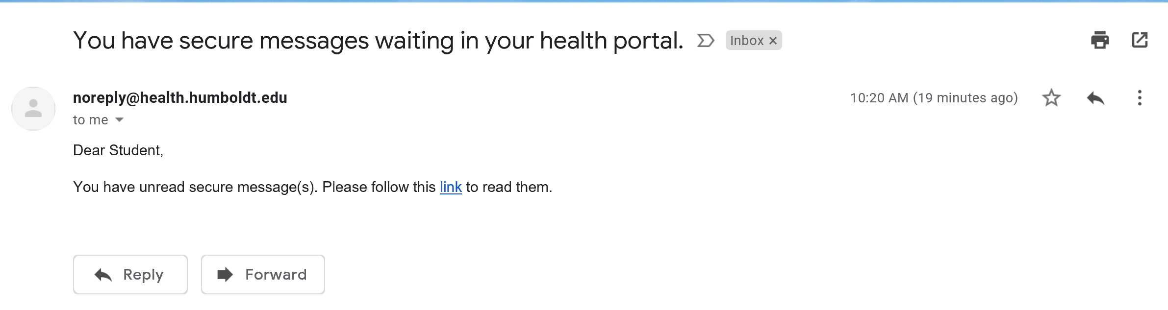 portal message email example